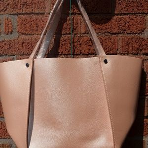 Neiman Marcus Rose Pink Vegan Leather Tote
